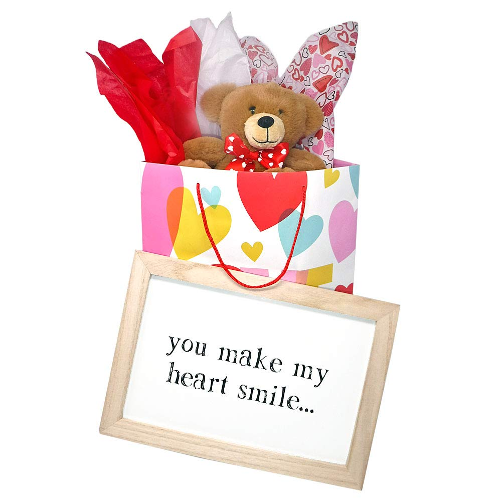 Valentines Day Love Set for Her with Framed Sign Teddy Bear Hearts Gift Bag and Tissue Paper 4 Item Bundle