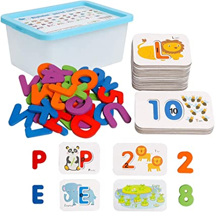 Drawing ABC flashcards Montessori Toys for Toddlers Wooden Letters Jigsaw Puzzle Set 26 Pcs Number Blocks Preschool Learning Activities for Spelling Animal Colors Alphabet Flash Cards