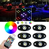 Wiipro RGB LED Rock Lights Cell Phone APP Bluetooth Control with 6 pods Underglow LED Neon Light Kit for JEEP Off Road Trucks Car ATV SUV Vehicle Boat Interior with Timing & Music & Flashing Mode