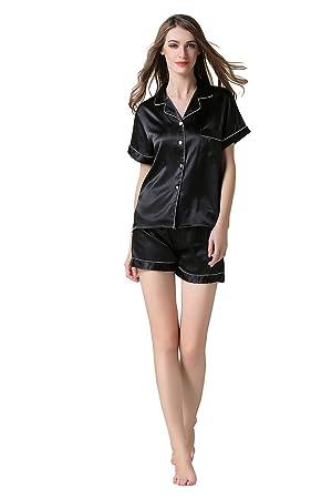 Conjunto de pijamas de seda para mujer Pantalón corto y pantalón corto para mujer de dos
