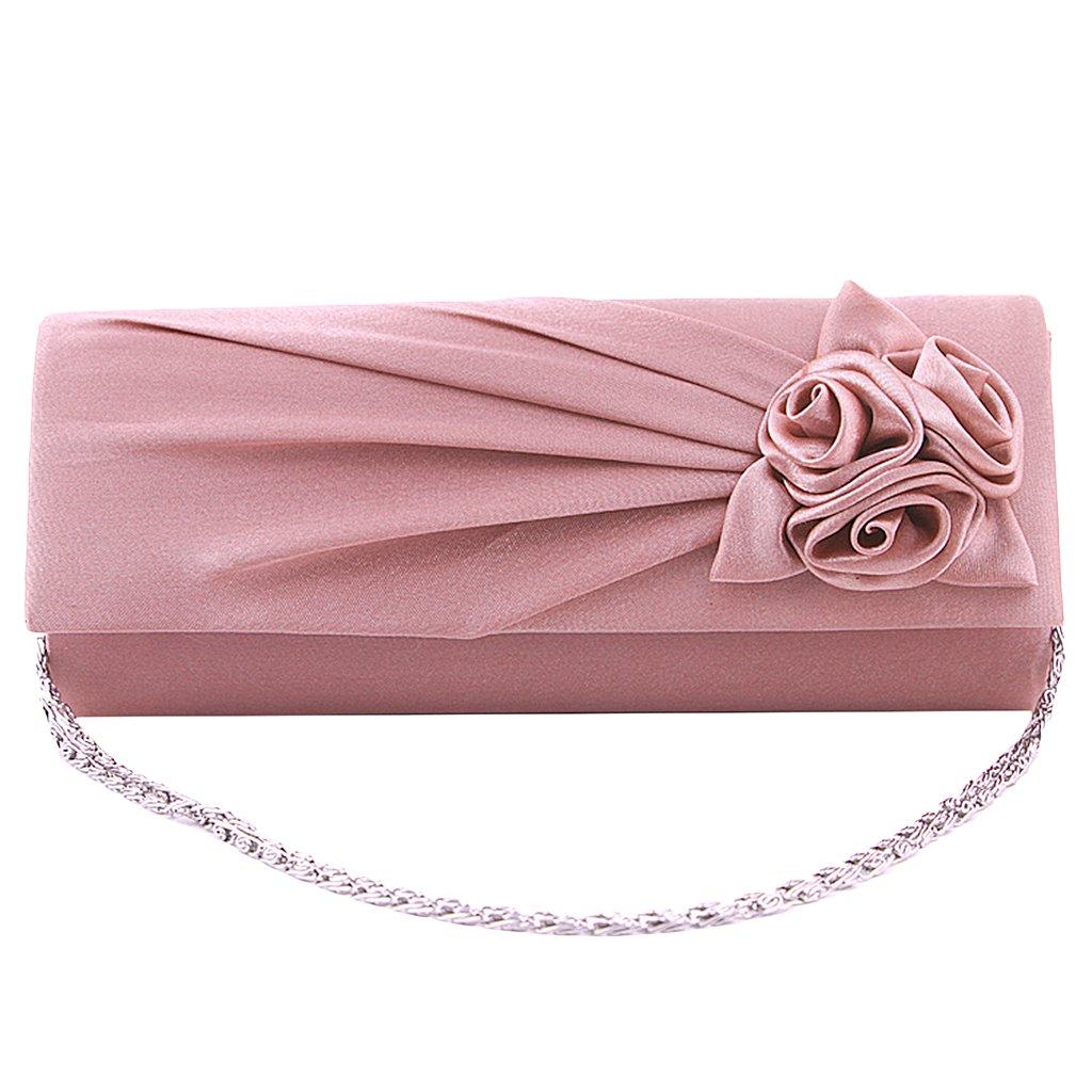 Frauen Clutches Handtasche Schulter Kupplung Tasche Satin Rose Abend  Partei (Blass Rosa)