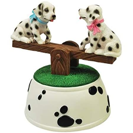 WL SS-WL-20809, Dalmatian Puppies Musical See-Saw Figurine with Black Spots Design
