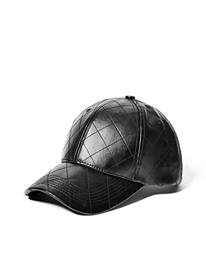 3c2a8ab6a86 G by GUESS Men s Quilted Faux-Leather Baseball Cap Black at Amazon Men s  Clothing store