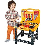 Toy Power Workbench, kids Power Tool Bench Construction Set with Tools and Electric Drill, 100 Pieces Toddlers Toy Shop Tools for Boys