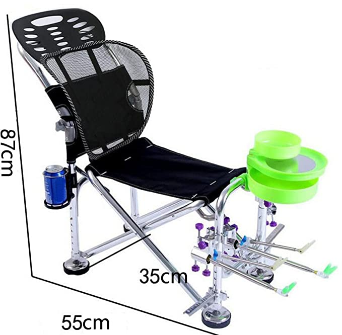 Amazon.com: JSHFD Fishing recliner Fishing Chair Outdoor ...