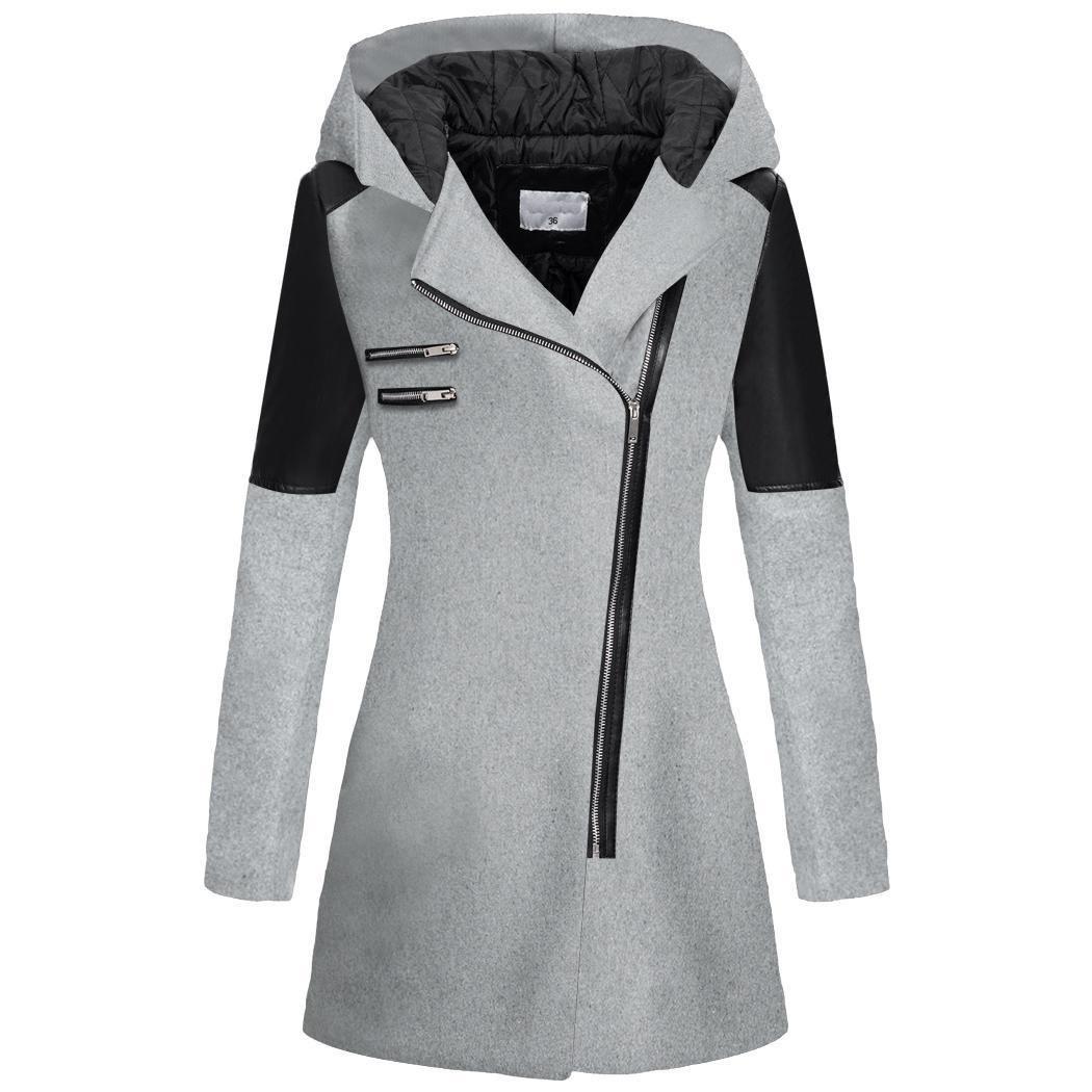 cooshional Donna cappotto con cappuccio soprabito lungo lana cerniera obliqua elegante