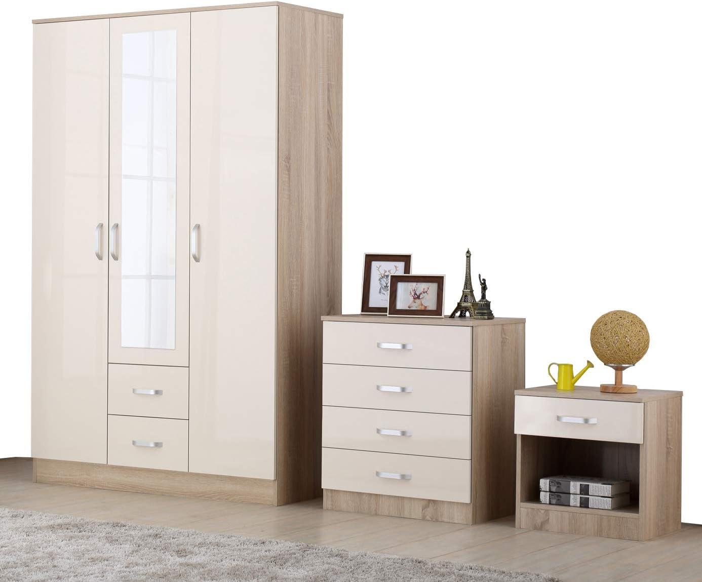 Cream Oak High Gloss 6 Piece Trio Bedroom Furniture Set - Wardrobe Chest  Bedside