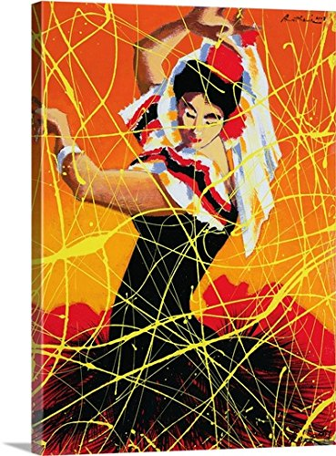 Traditional Flamenco Dance Costumes (Andrew Hewkin Premium Thick-Wrap Canvas Wall Art Print entitled Flamenco Fiesta, 1997)