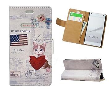 d7b1f4b3dc Amazon | Xperia Z5 Compact ケース SO-02H 手帳型ケース 「かわいい猫 ...