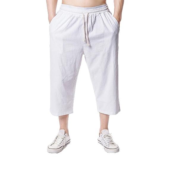 Gusspower Pantalones Cortos Hombre Pantalones Chinos Pantalones Anchos Baggy Casual Hippies Transpirable 3/4Longitud Pantalones