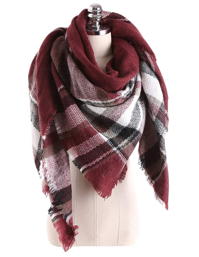 GERINLY Womens Winter Soft Plaid Tartan Checked Scarf Warm Shoulder Cover Winter Wrap (Pink Grey) ab7-2ca1737