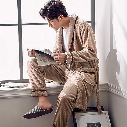 217b62041fd2 Nightgown Bathrobe Men s Pyjamas Set Nightwear Sleepwear Loungewear Winter  Flannel Coral Fleece Thickening Plus Velvet Warm