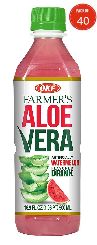 OKF Farmer's Aloe Vera Drink, Watermelon, 16.9 Fluid Ounce (Pack of 40)