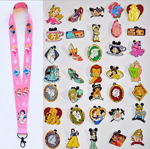 Disney Pins, Princess Lanyard, Cinderella, Belle, Little Mermaid, Disney Trading Pins, Princess Starter Lanyard and Pins (1 Lanyard + 12 pins)