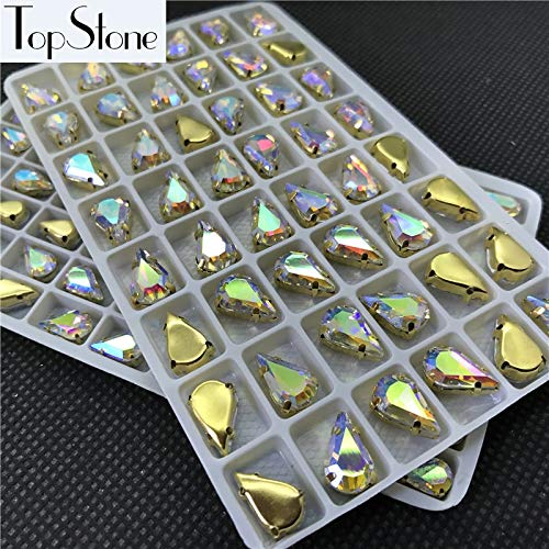 Calvas Topstone 6x10mm 8x13mm Crystal AB Teardrop Glass Crystal Fancy Stone with Gold Claw Setting for Sewing on Dress,Jewelry Making - (Item Diameter: 8x13mm 48pcs)]()