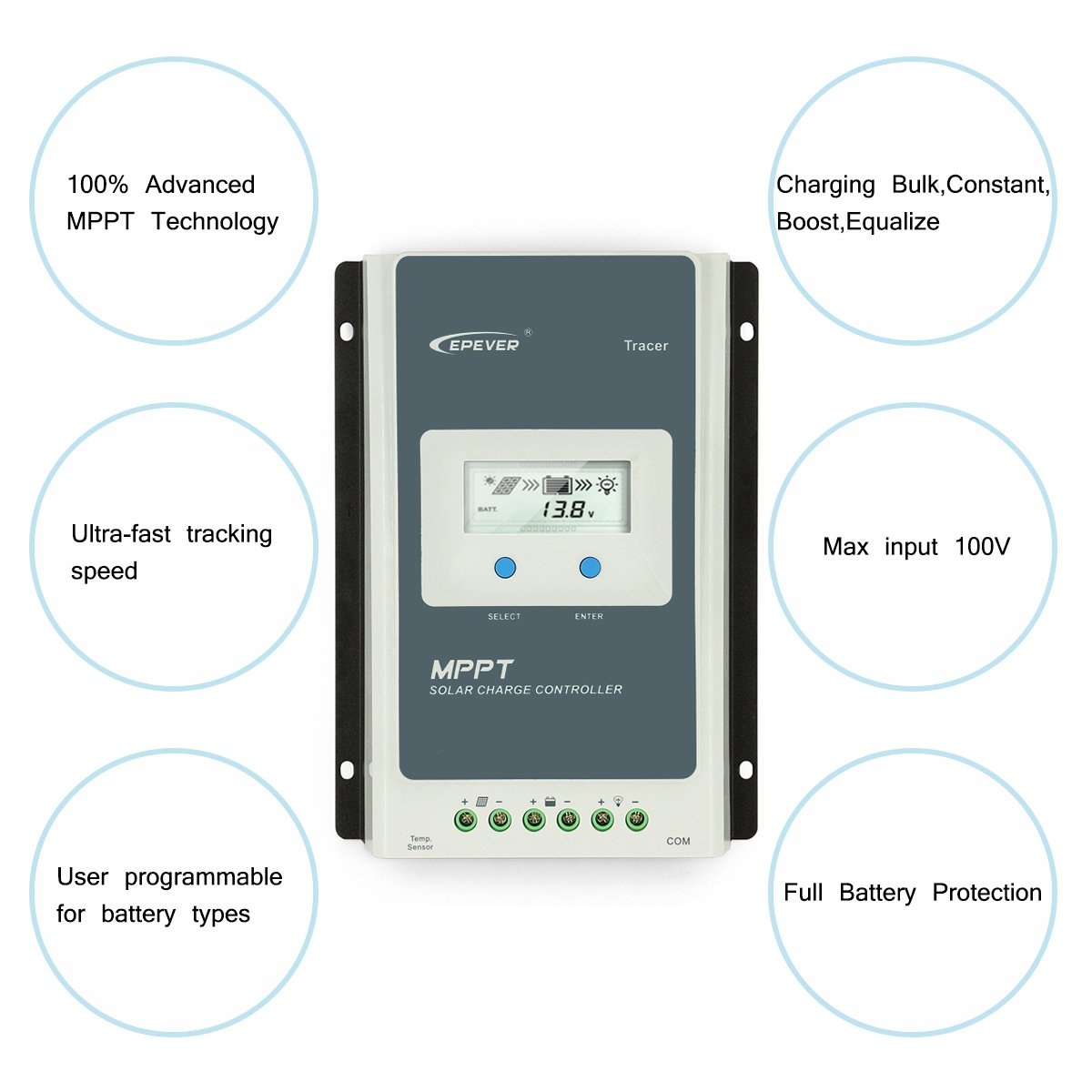 Epever 40a Mppt Solar Charge Controller Tracer A 4210a Series Parallel Wiring For Battery Charging Do You Have Low Wind And Remote Meter Mt 50 With Lcd Display Garden