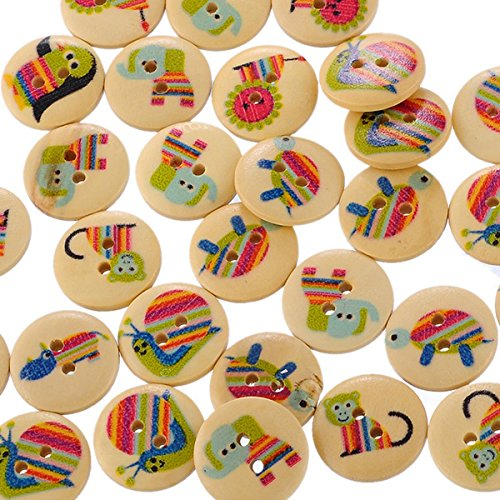 HOUSWEETY Buttons Natural Cartoon Scrapbook