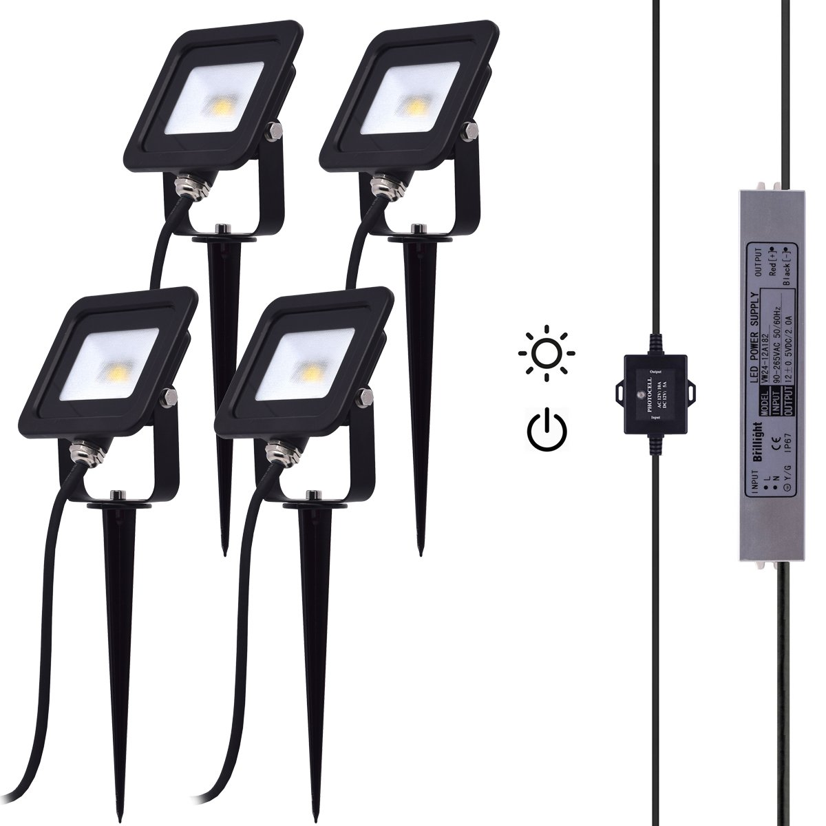 10w Dc 12v Dawn To Dusk Led Flood Light Kit Incl Photocell Sensor Photocells For Lights Switch Power Supply And Extension Cables Outdoor Landscape Lighting Pack Of 4