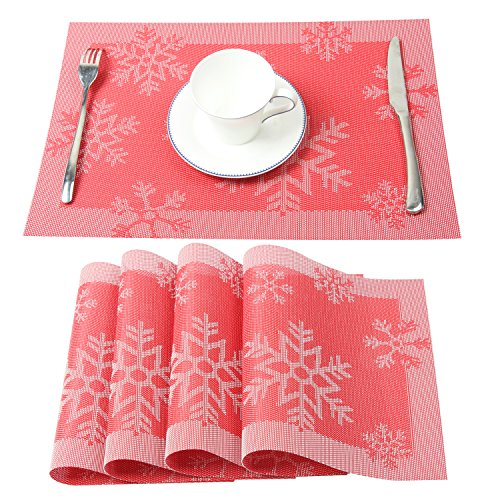 Homcomoda Vinyl Place Mats for Dining Table Heat Resistant Table Mats Christmas Snowflake Placemats for Kitchen Table Set of 4 (Red) (Placemats Christmas For)