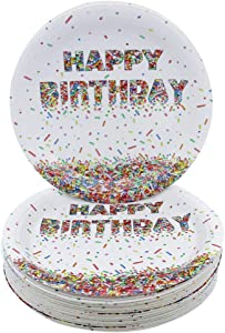 Pandecor Confetti Sprinkles Dessert Plates,50PCS Disposable Paper Plates 7 Inch Cake Plates for Kids Birthday Party