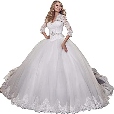 Tzbride New Long Sleeve Lace Wedding Dress Floor Length Applique