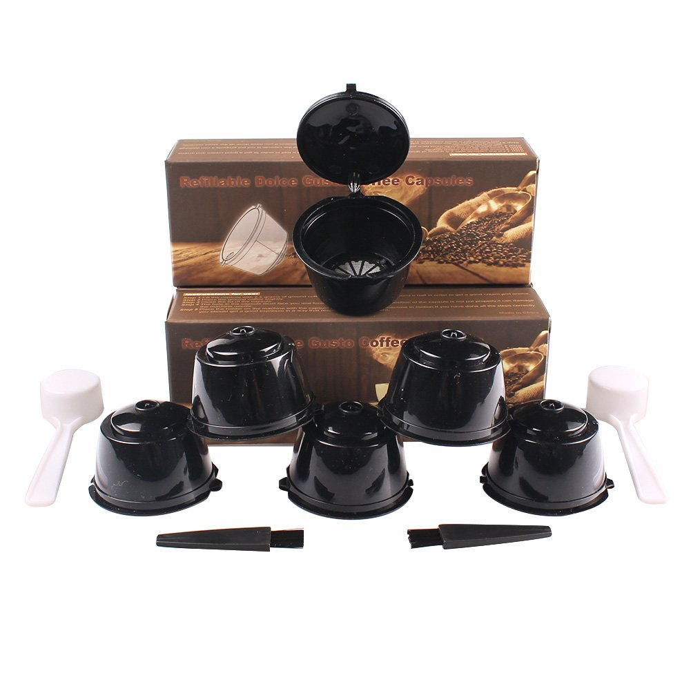 Soleebee i cafilas Reusable Coffee Pods Filters Refillable Coffee Capsules for Nescafe Dolce Gusto with 2 Plastic Spoon and 2 Brush - Black, 6 Pack