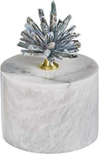 MOTINI Decorative White Marble Boxes with Kyanite Lid for Home Decor, Storage Organizer Container for Jewelry, 6.3