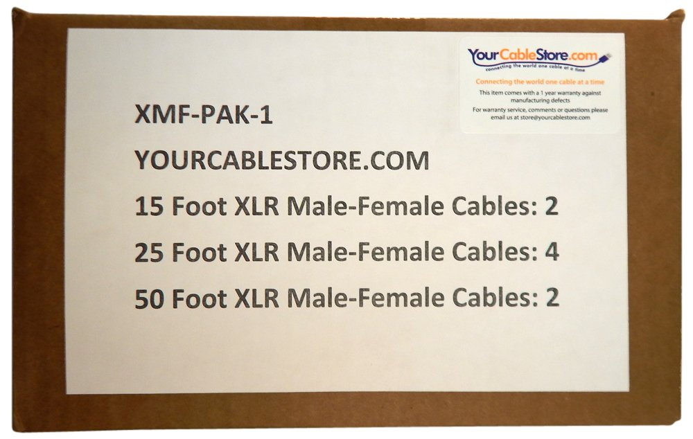 Your Cable Store XLR/Mic Cable Kit Two 50 ft, Two 15 ft and Four 25 Foot XLR Patch Cables by Your Cable Store