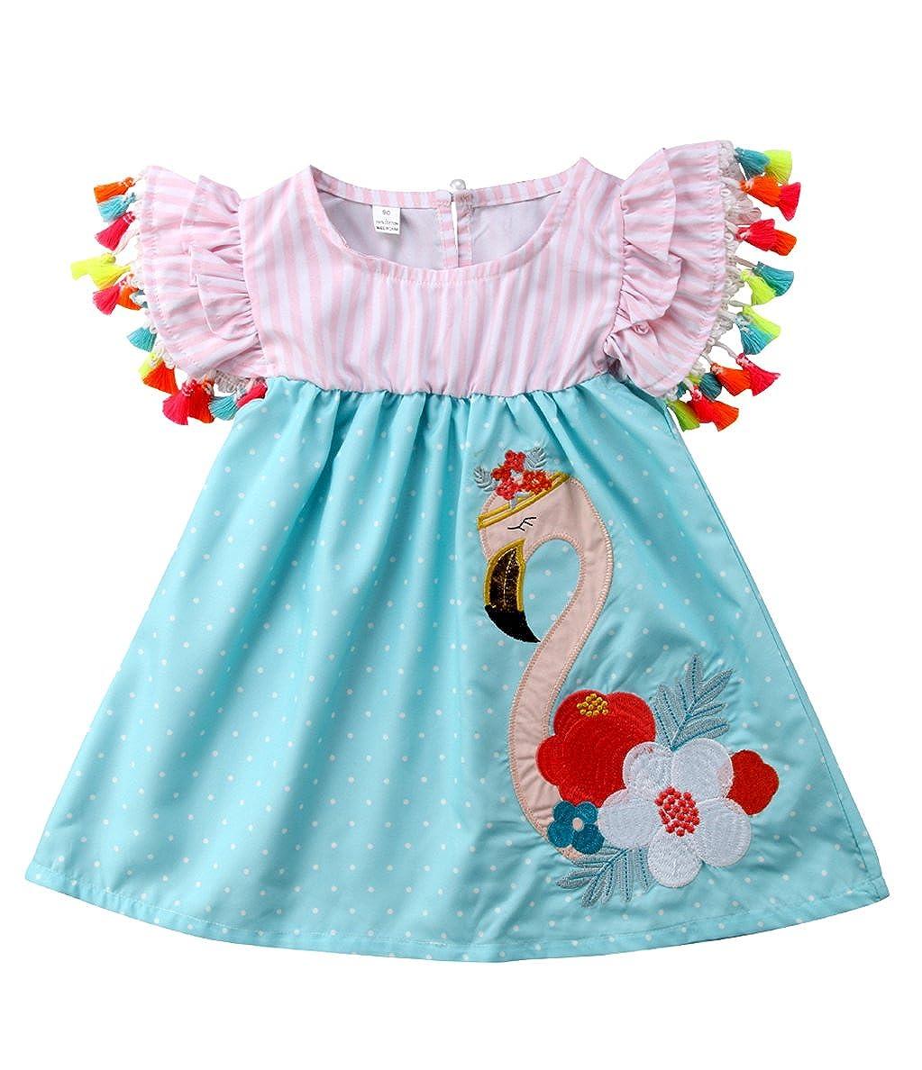 e0366b7f7 Amazon.com  Urkutoba Baby Kid Girls Striped Ruffle Dress Summer ...