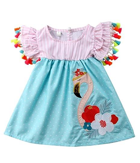 544e77a452f4 Amazon.com: Urkutoba Baby Kid Girls Striped Ruffle Dress Summer Short  Sleeve Flamingo Pattern Dress with Tassels Balls: Clothing