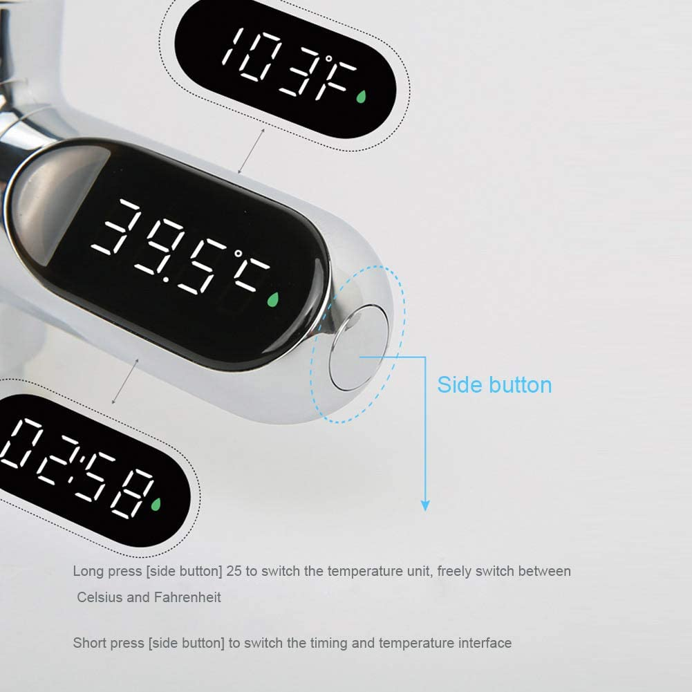 Yhtumn LED Digital Thermometer Bathroom Shower Faucets 360 Rotate Real-Time Temperature Monitor