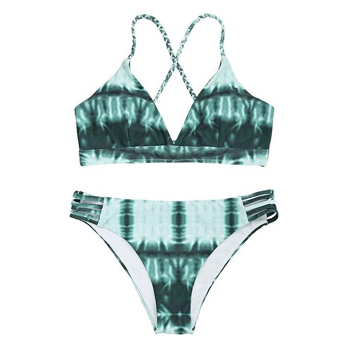 a735a3f40b0 Amazon.com  ZAFUL Womens Sexy Tie Dye Braided Lace-up Thong Bikini Set L   Clothing