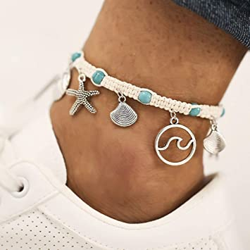 1pc Vintage Boho Shell Beads Chain Starfish Sea Turtle Anklet Bracelet Jewelry
