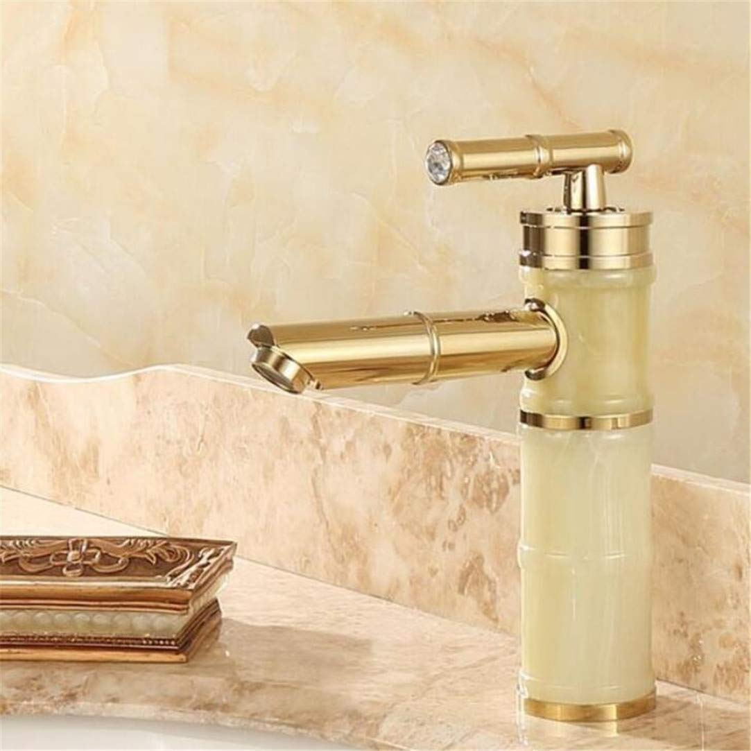 Faucet Washbasin Mixer New Jade and Brass Faucet gold Finished Bathroom Basin Faucet Luxury Sink Tap Basin Mixer High Quality Water Tap