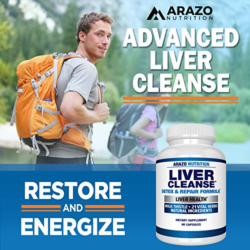 Liver Cleanse Detox & Repair Formula – 22 Herbs Support Supplement: Milk thistle Extracts Silymarin, Beet, Artichoke, Dandelion, Chicory Root – Arazo Nutrition USA by Arazo Nutrition (Image #4)
