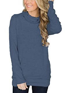 790fd907a48 Hount Womens Cowl Neck Loose Pullover Sweatshirt Hoodies Casual Long Sleeve  Tunic Top with Pockets