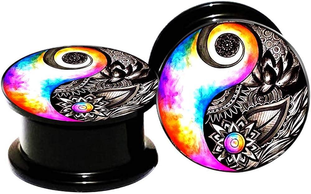 FLYUN 2Pcs Yin Yang Flower Black Acrylic Ear Plugs Tunnels 6-25mm Gauges Double Flared Saddle Plugs Stretcher Expander Piercings Jewelry