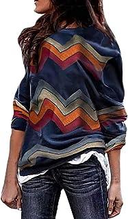 Tefuir Chemisier à Manches Longues à Imprimé Rayures pour Femme Printemps Sweat-Shirt Décontracté Chic Pull Femme Mode Casual T Shirt Fille Slim Sport Soirée