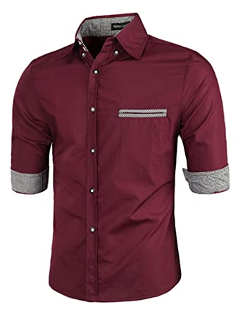 uxcell Men Point Collar Half Sleeve Button Up Casual Shirts ...
