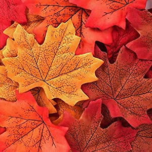 Yarssir 200PCS Fall Artificial Maple Leaves Decorations - Thanksgiving Autumn Leaf Wedding Party Table Decor 71