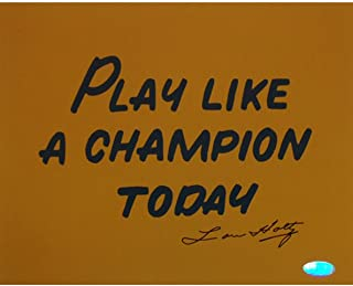 NCAA Notre Dame Fighting Irish Memorabilia ''Play Like A Champion Today'' Lou Holtz Signed Photograph