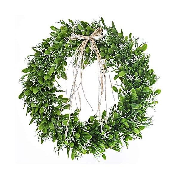 GUFIKY 16 inch Artificial Green Leaf Wreath with Bow Spring Front Door Wreath Greenery Garland Home Office Wall Wedding Decor
