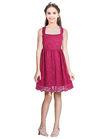 iEFiEL Big Girls Floral Lace Flower Dress Sleeveless Cutout Back Dresses Junior Pageant Wedding Prom