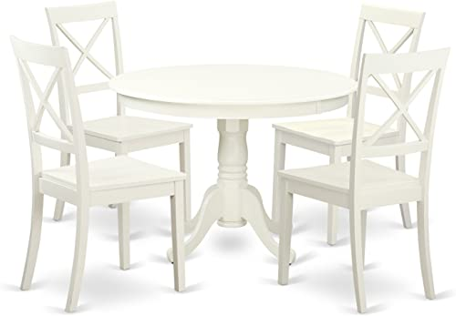 HLBO5-LWH-W 5 Pc set with a Round Dinette Table and 4 Wood Dinette Chairs in Linen White