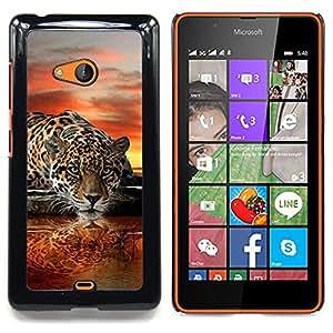 """Qstar Arte & diseño plástico duro Fundas Cover Cubre Hard Case Cover para Nokia Lumia 540 (Leopard Espejo de Agua Arte puesta del sol del gato grande"""")"""