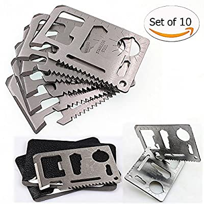 Credit Card Survival Pocket Tool,11 Function-Tools-in-1 Multipurpose Wallet Pocket Size MT908 Stainless Steel Useful Pocket Portable Multi tools, Key rings Gifts for Men Bottle Opener, 10 Pack. by Weierken