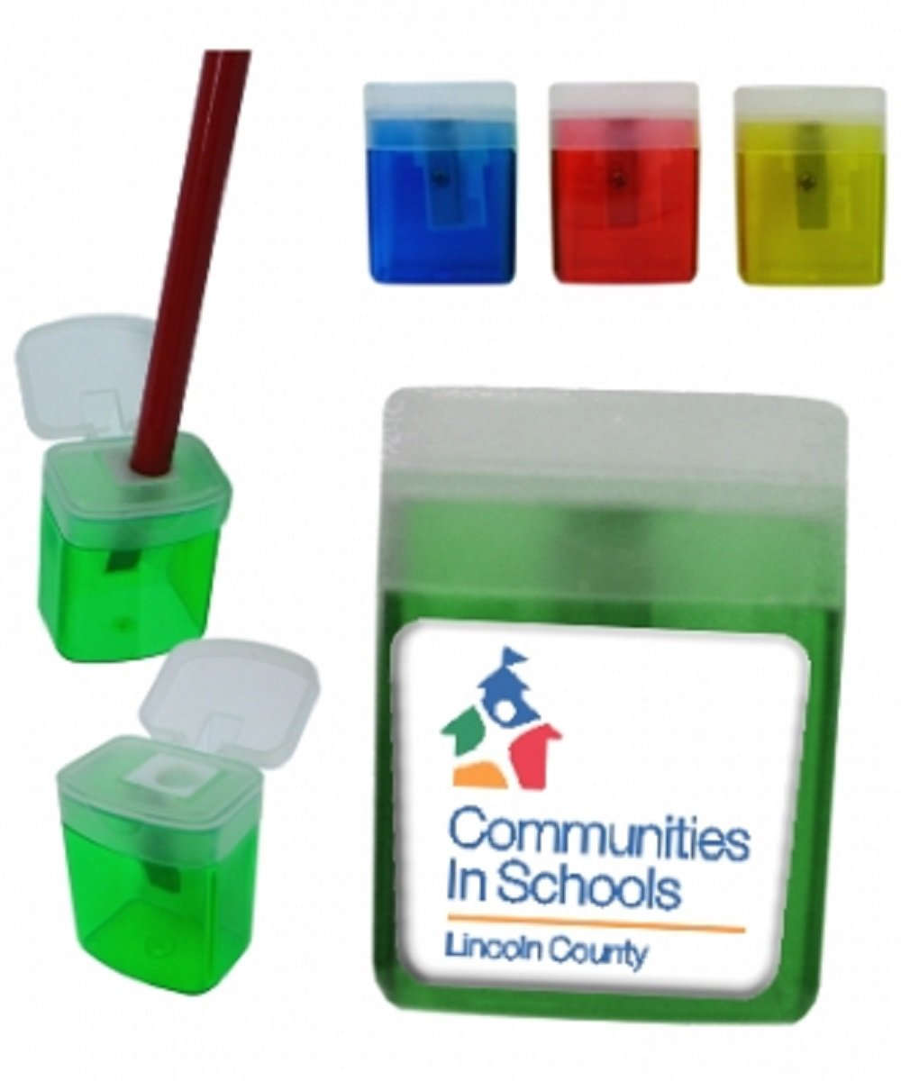 100 Personalized Boxed Shaped Pencil Sharpener With Your Company / School Logo or Message Custom