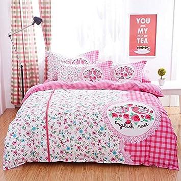 Girls pink flower bird series polyester fiber printing duvet cover four-piece suit Queen/King size , queen xp home