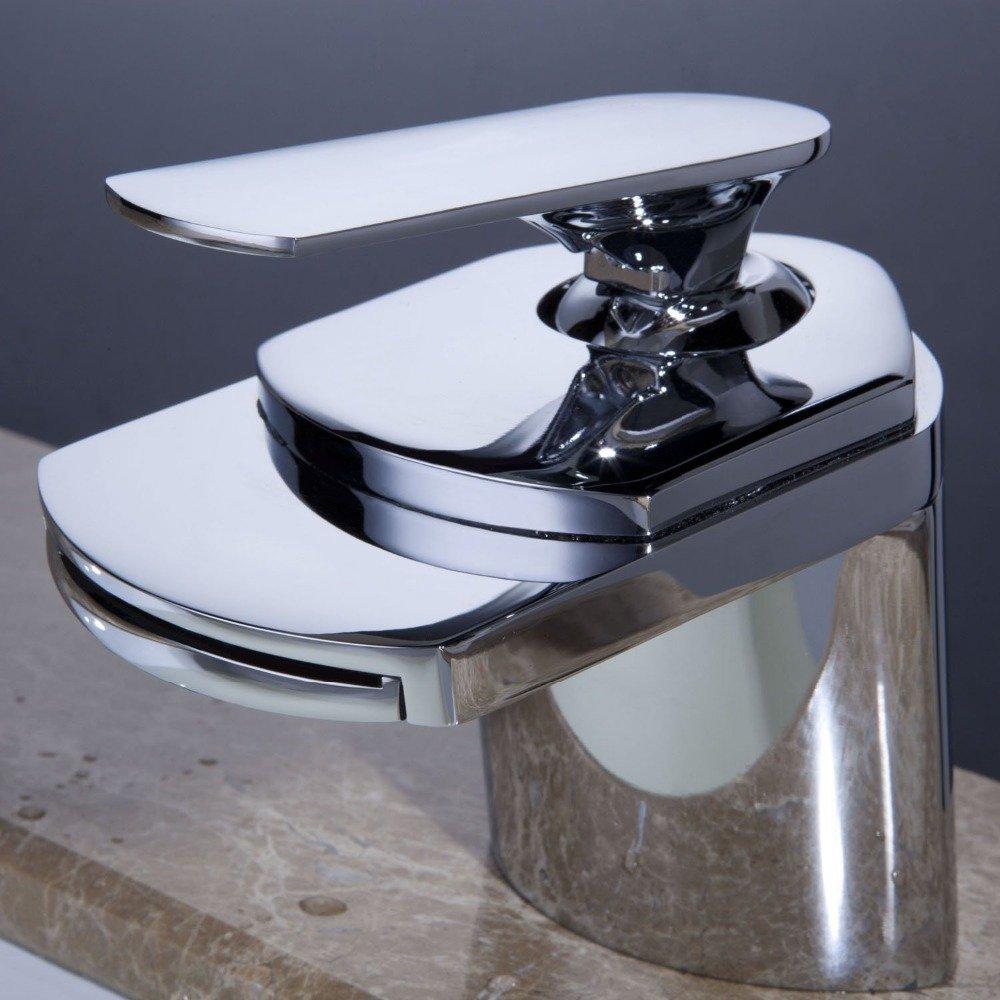 Light Grey Chrome Tourmeler Robinet Bathroom Sink Faucets Krano Sprinkle Contemporary Waterfall Bathroom Fixtures Wasserhahn Chrome Finish Torneira, Chrome, Light Grey