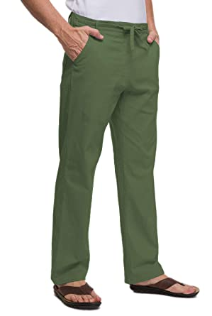dfbdf4c22e47 Amazon.com: Janmid Men Casual Beach Trousers Linen Summer Pants: Clothing